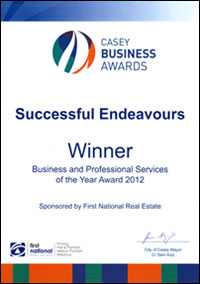 Successful Endeavours - Casey Business Awards - Business & Professional Services Award Winner 2012