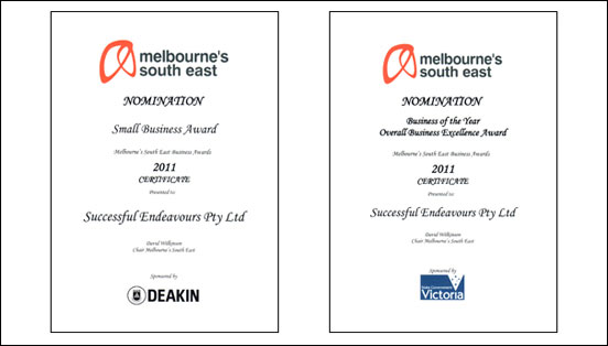 Successful Endeavours nominated for two Melbourne's South East Business Awards